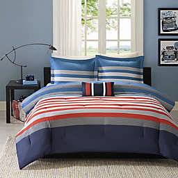 Mizone Kyle Comforter Set in Red/Blue