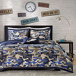 Mi Zone Reagan Animal Printed Full/Queen Comforter Bedding Set in Blue