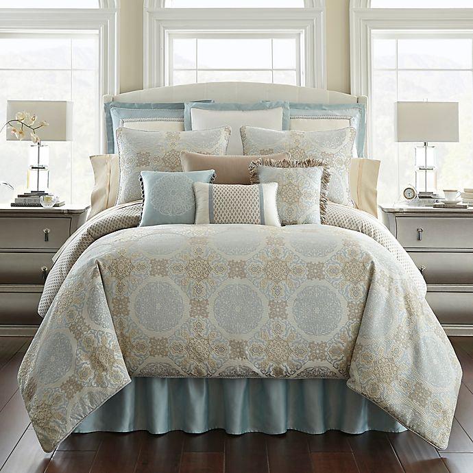 Alternate image 1 for Waterford® Jonet Queen Comforter Set in Cream/Blue