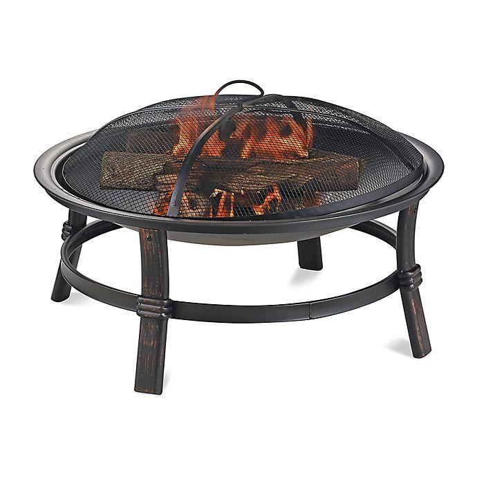 Alternate image 1 for UniFlame® Endless Summer® Wood Burning Outdoor Fire Pit in Brushed Copper