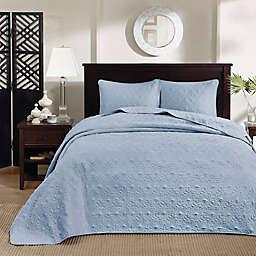 Madison Park Quebec 3-Piece Reversible Queen Bedspread Set in Blue