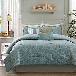 Madison Park Carmel 7-Piece Reversible King Comforter Set in Blue