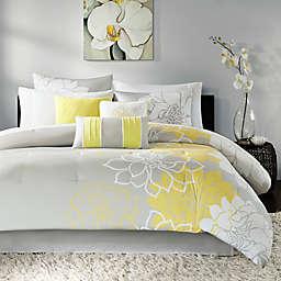 Madison Park Lola 7-Piece California King Comforter Set in Yellow Grey