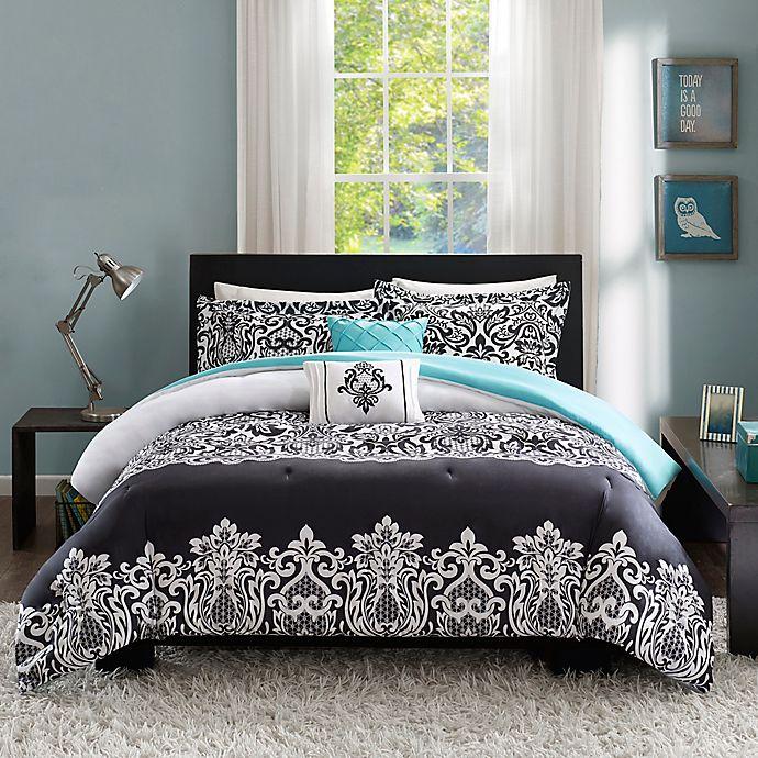 Alternate image 1 for Intelligent Design Leona Comforter Set in Black/Aqua