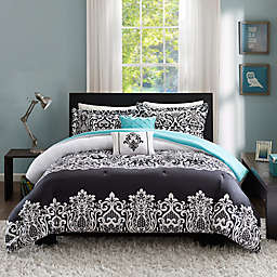 Intelligent Design Leona 4-Piece Twin/Twin XL Comforter Set in Black/Aqua