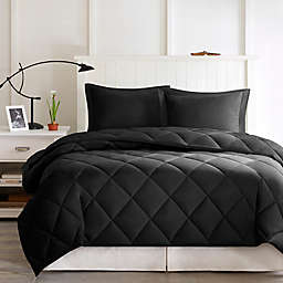 Madison Park Essentials Larkspur 3M Scotchgard 3-Piece Full/Queen Comforter Set in Black