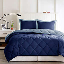 Madison Park Essentials Larkspur 3M Scotchgard 2-Piece Twin/Twin XL Comforter Set in Navy