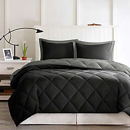 Madison Park Essentials Larkspur Down Alternative 2-Piece Twin/Twin XL Comforter Set in Black/Grey
