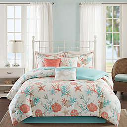 Madison Park Pebble Beach 7-Piece Cotton Sateen Printed Comforter Bedding Set in Coral