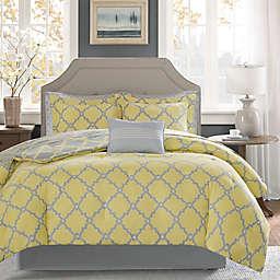 Madison Park Essentials Merritt 7-Piece Reversible Twin Comforter Set in Yellow/Grey