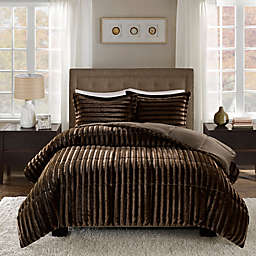 Madison Park Duke Faux Fur Full/Queen Comforter Set in Chocolate
