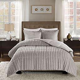 Madison Park Duke Faux Fur Full/Queen Comforter Set in Grey