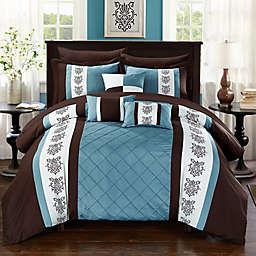 Chic Home Adam 8-Piece Twin Comforter Set in Brown