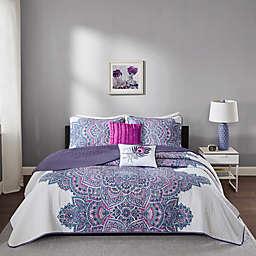 Intelligent Design Mila Twin/Twin XL Coverlet Set in Purple