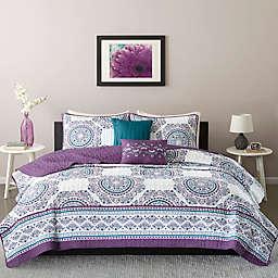 Intelligent Design Anika Twin/Twin XL Coverlet Set in Purple