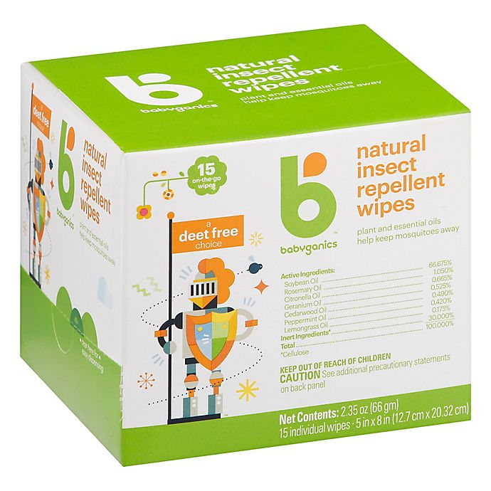 Alternate image 1 for Babyganics® 15-Count Natural Insect Repellent Wipes