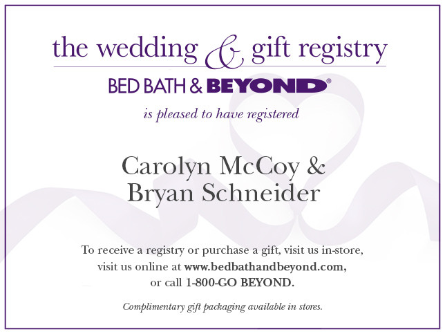 Bedbathandbeyond Wedding Registry.Registry Announcement Cards Bed Bath Beyond