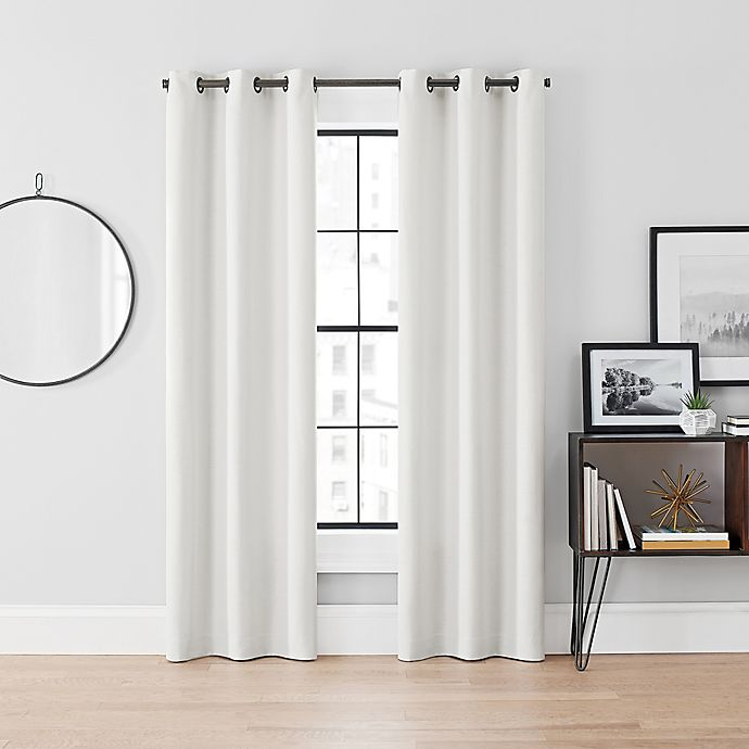 Alternate image 1 for Brookstone® Curtain Fresh™ Dale 95-Inch Grommet Room Darkening Curtains in White